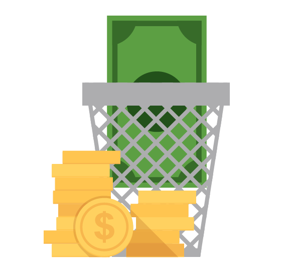Icon of dollars and coins in trash